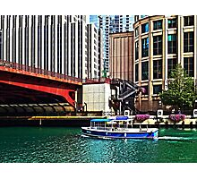 Chicago IL - Water Taxi by Columbus Drive Bridge Photographic Print