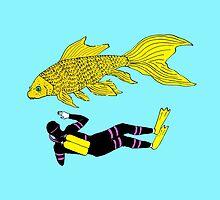 Deep Sea Goldfish Diver Landscape by mirandaholms