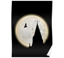 A Victorian church tower is surrounded by crows during a full moon Poster