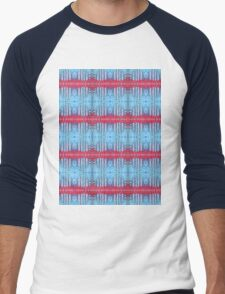 blue and red stripes Men's Baseball ¾ T-Shirt