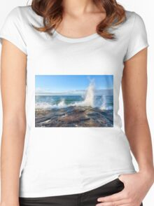 Wave Splash on Lake Superior Women's Fitted Scoop T-Shirt