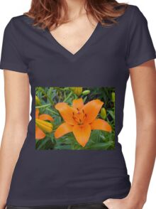 Orange Lily 6 Women's Fitted V-Neck T-Shirt