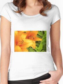 Orange Lily in the garden 3 Women's Fitted Scoop T-Shirt