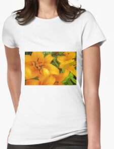 Orange Lily in the garden 4 Womens Fitted T-Shirt