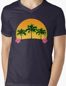 Island Sunset Mens V-Neck T-Shirt