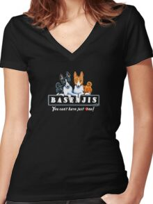 Basenjis: Can't Have Just One {dark} Women's Fitted V-Neck T-Shirt