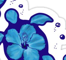 Blue Honu Hibiscus Turtles Sticker