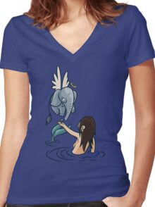 Mermaid and Friend Women's Fitted V-Neck T-Shirt