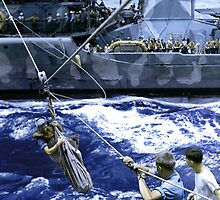 A breeches buoy is put into service to transfer survivors of a sunken ship from a U.S. destroyer to a cruiser, November 14, 1942 IR by Adam Asar