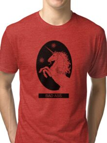 Black Bad Ass Unicorn  Tri-blend T-Shirt