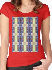 mint and blue wavy stripes Women's Fitted Scoop T-Shirt