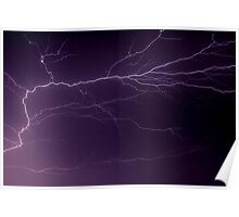Intense Lightning Bolt Branches and Forks Poster