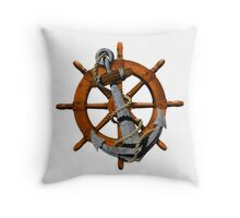 Captain's Wheel And Anchor Throw Pillow