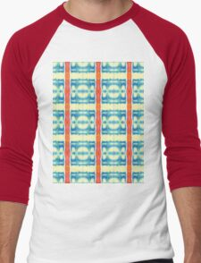 blue and cream blocks with red stripes Men's Baseball ¾ T-Shirt