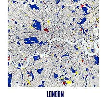 London Piet Mondrian Style City Street Map Art by Adam Asar