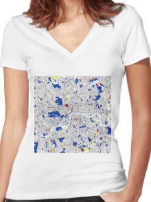 London Piet Mondrian Style City Street Map Art Women's Fitted V-Neck T-Shirt