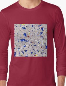 London Piet Mondrian Style City Street Map Art Long Sleeve T-Shirt