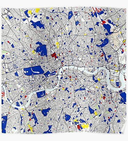 London Piet Mondrian Style City Street Map Art Poster