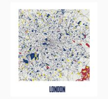 London Piet Mondrian Style City Street Map Art T-Shirt
