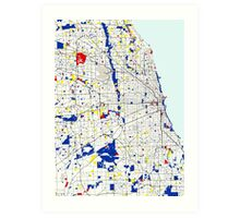 Map of Chicagoland in the style of Piet Mondrian Art Print