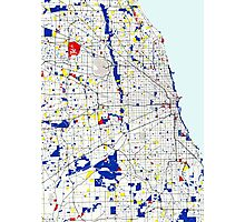 Map of Chicagoland in the style of Piet Mondrian Photographic Print