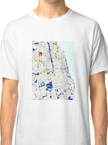 Map of Chicagoland in the style of Piet Mondrian Classic T-Shirt