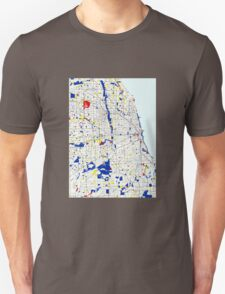 Map of Chicagoland in the style of Piet Mondrian Unisex T-Shirt
