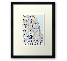 Map of Chicagoland in the style of Piet Mondrian Framed Print