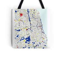 Map of Chicagoland in the style of Piet Mondrian Tote Bag