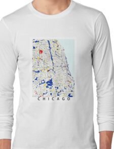 Map of Chicagoland in the style of Piet Mondrian Long Sleeve T-Shirt