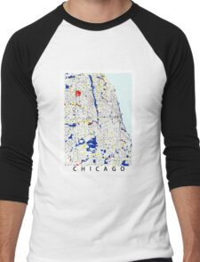 Map of Chicagoland in the style of Piet Mondrian Men's Baseball ¾ T-Shirt