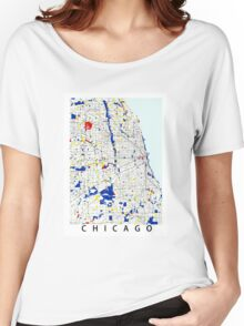 Map of Chicagoland in the style of Piet Mondrian Women's Relaxed Fit T-Shirt