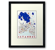 Map of Istanbul in the style of Piet Mondrian Framed Print