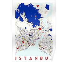 Map of Istanbul in the style of Piet Mondrian Poster