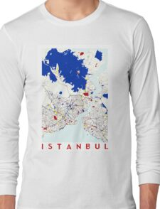 Map of Istanbul in the style of Piet Mondrian Long Sleeve T-Shirt