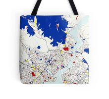 Map of Istanbul in the style of Piet Mondrian Tote Bag