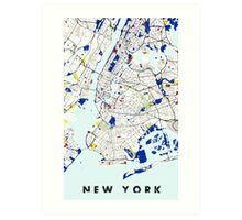 Map of New York in the style of Piet Mondrian Art Print