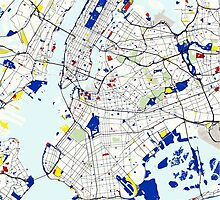 Map of New York in the style of Piet Mondrian by Adam Asar