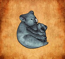 Koalas - a cute hand drawn illustration of a mother koala and her baby by Perrin Le Feuvre