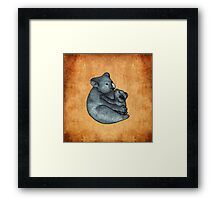 Koalas - a cute hand drawn illustration of a mother koala and her baby Framed Print