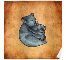 Koalas - a cute hand drawn illustration of a mother koala and her baby Poster