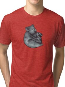 Koalas - a cute hand drawn illustration of a mother koala and her baby Tri-blend T-Shirt