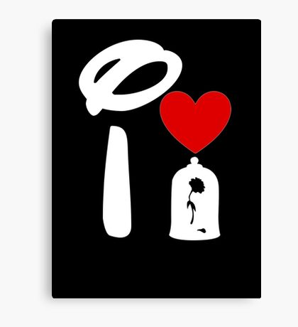 I Heart Beauty and The Beast (Inverted) Canvas Print