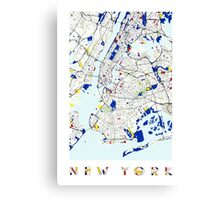 Map of New York in the style of Piet Mondrian Canvas Print