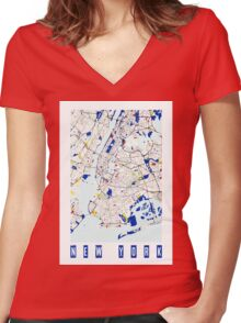 Map of New York in the style of Piet Mondrian Women's Fitted V-Neck T-Shirt
