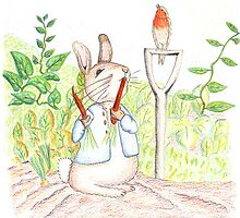 Peter Rabbit eating some carrots by davethewave