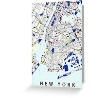 Map of New York in the style of Piet Mondrian Greeting Card
