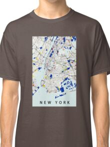 Map of New York in the style of Piet Mondrian Classic T-Shirt