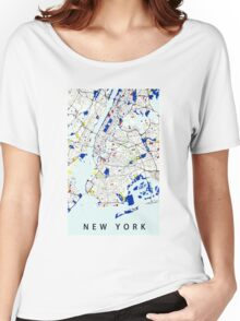 Map of New York in the style of Piet Mondrian Women's Relaxed Fit T-Shirt