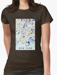 Map of New York in the style of Piet Mondrian Womens Fitted T-Shirt